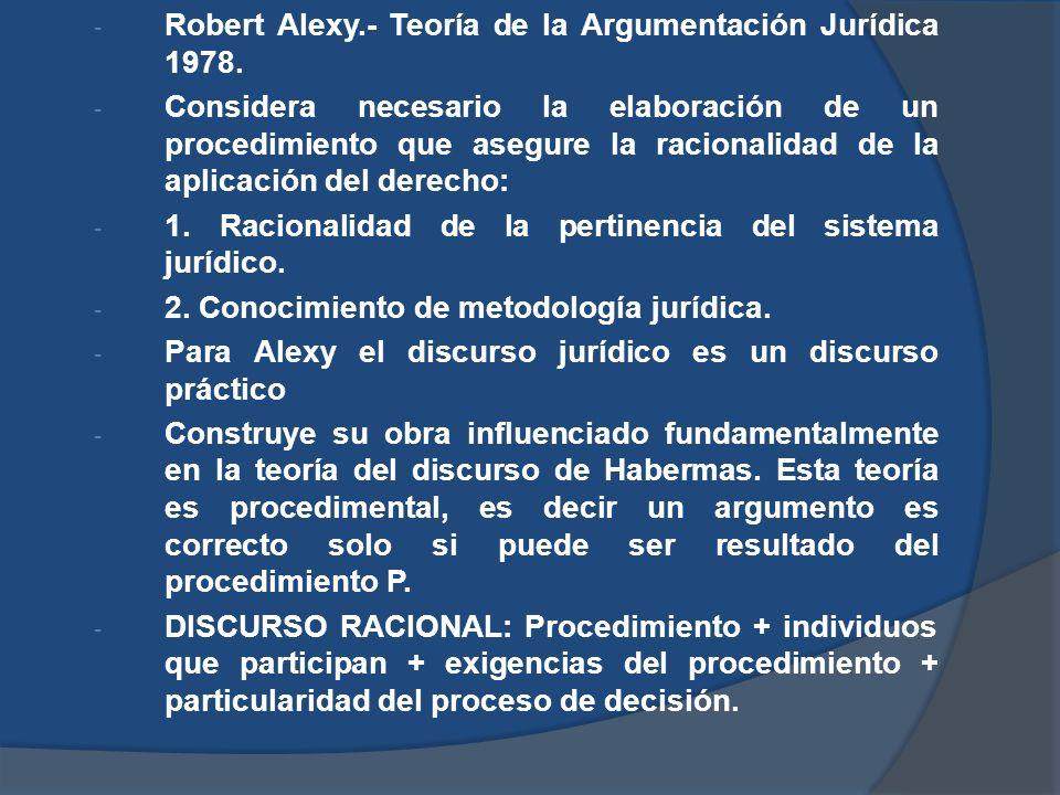 Robert Alexy.- Teoría de la Argumentación Jurídica 1978.