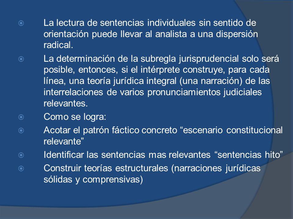 La lectura de sentencias individuales sin sentido de orientación puede llevar al analista a una dispersión radical.