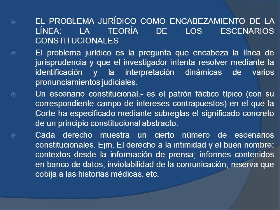 EL PROBLEMA JURÍDICO COMO ENCABEZAMIENTO DE LA LÍNEA: LA TEORÍA DE LOS ESCENARIOS CONSTITUCIONALES