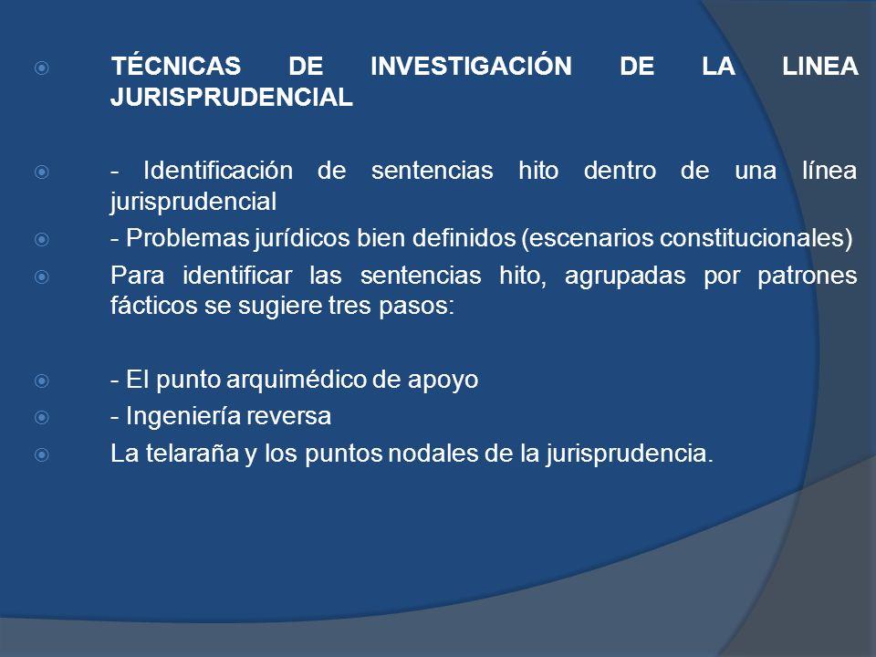 TÉCNICAS DE INVESTIGACIÓN DE LA LINEA JURISPRUDENCIAL
