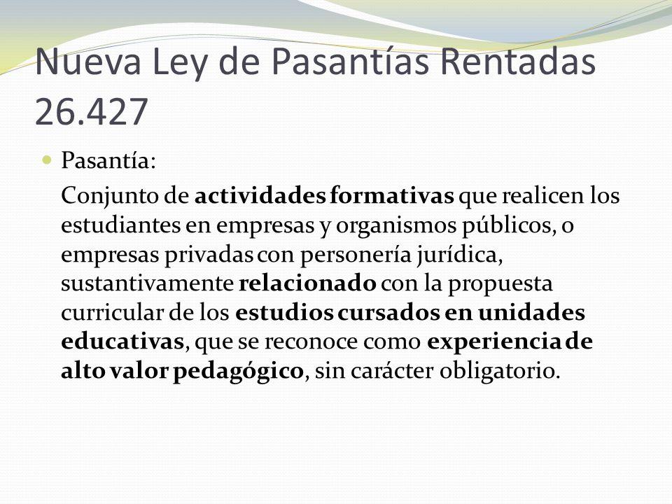 Nueva Ley de Pasantías Rentadas 26.427
