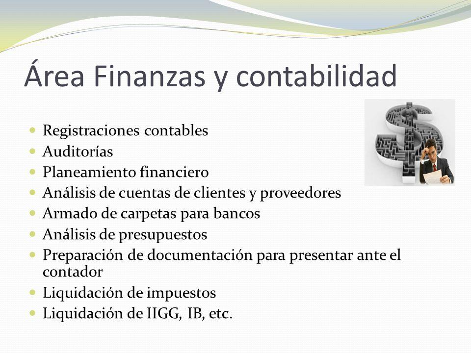 Área Finanzas y contabilidad