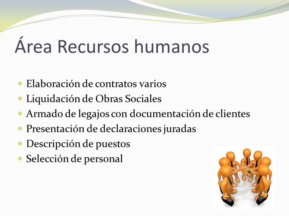 Área Recursos humanos Elaboración de contratos varios