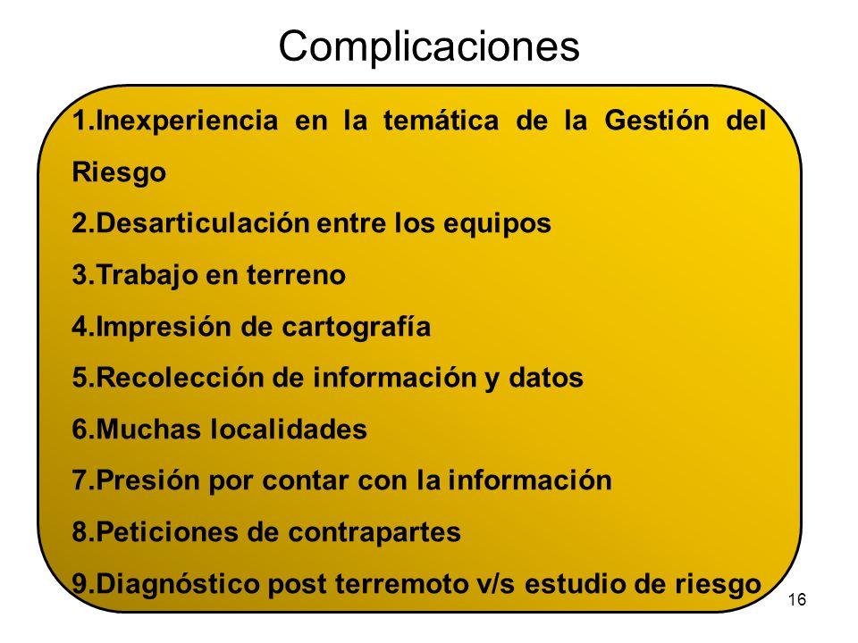 Complicaciones Inexperiencia en la temática de la Gestión del Riesgo