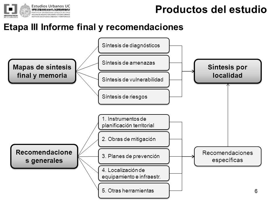 Productos del estudio Etapa III Informe final y recomendaciones