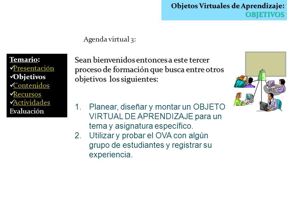 Objetos Virtuales de Aprendizaje: OBJETIVOS
