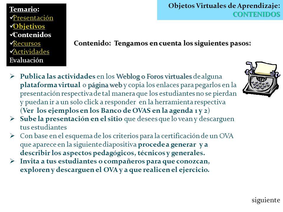 Objetos Virtuales de Aprendizaje: CONTENIDOS