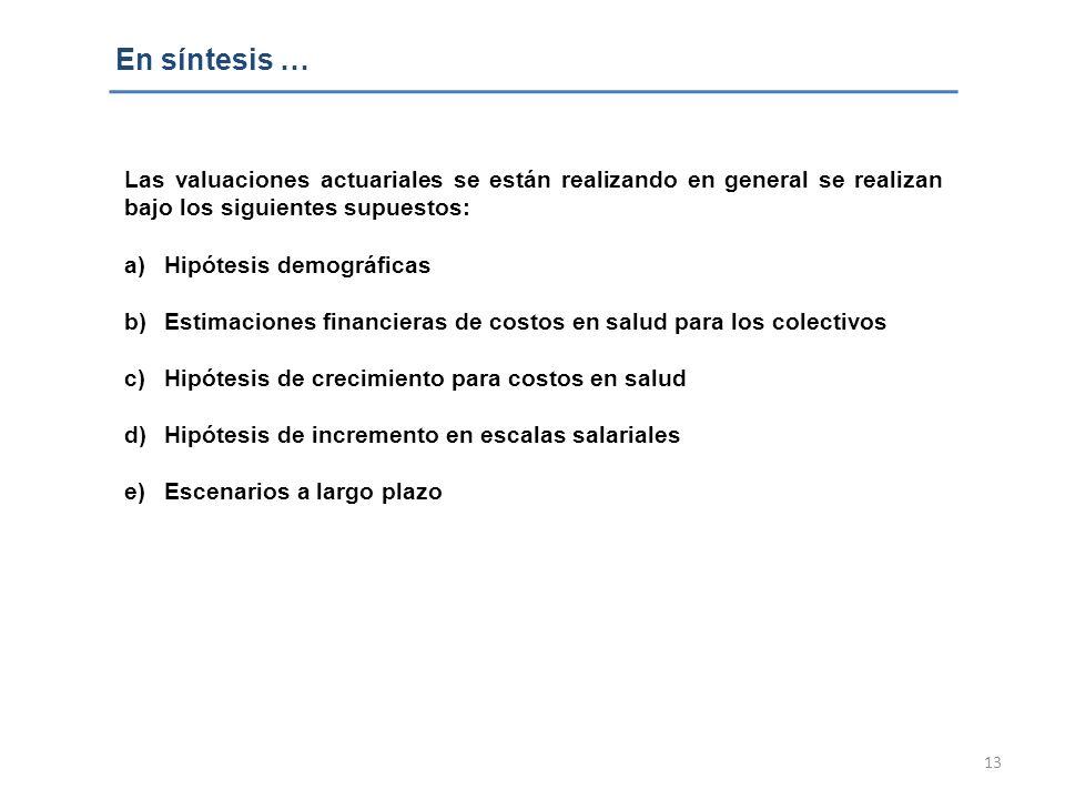 En síntesis … Las valuaciones actuariales se están realizando en general se realizan bajo los siguientes supuestos: