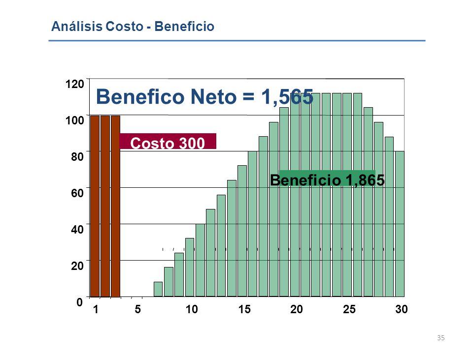 Benefico Neto = 1,565 Costo 300 Beneficio 1,865