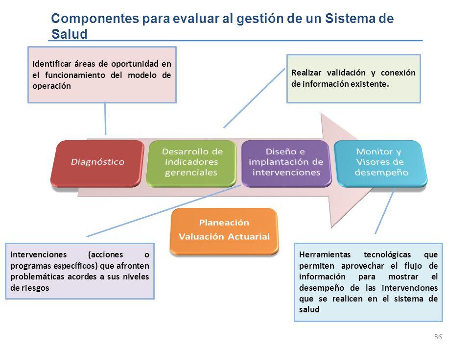 Componentes para evaluar al gestión de un Sistema de Salud
