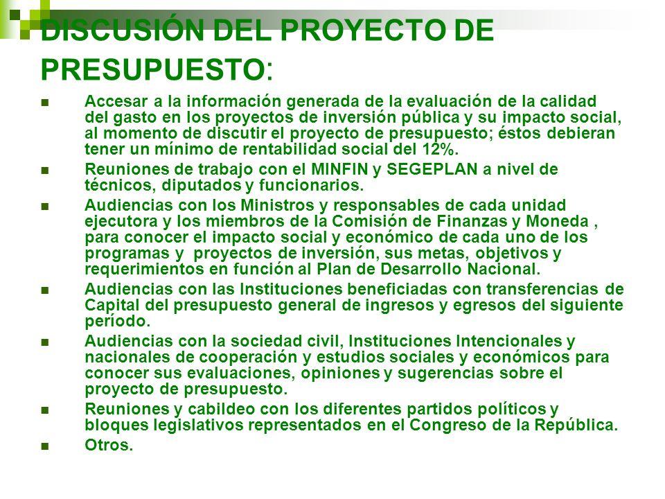 DISCUSIÓN DEL PROYECTO DE PRESUPUESTO: