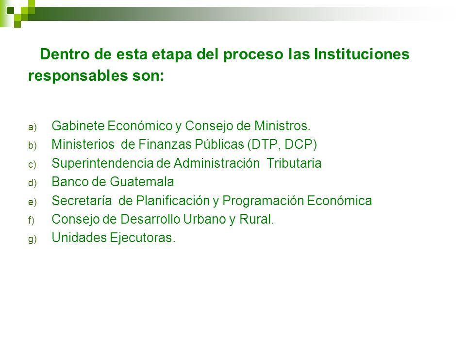 Dentro de esta etapa del proceso las Instituciones responsables son: