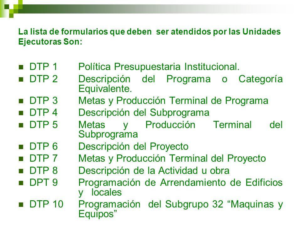 DTP 1 Política Presupuestaria Institucional.