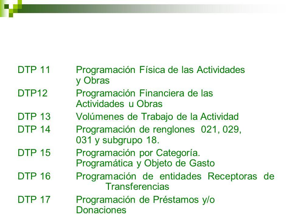 DTP 11 Programación Física de las Actividades y Obras
