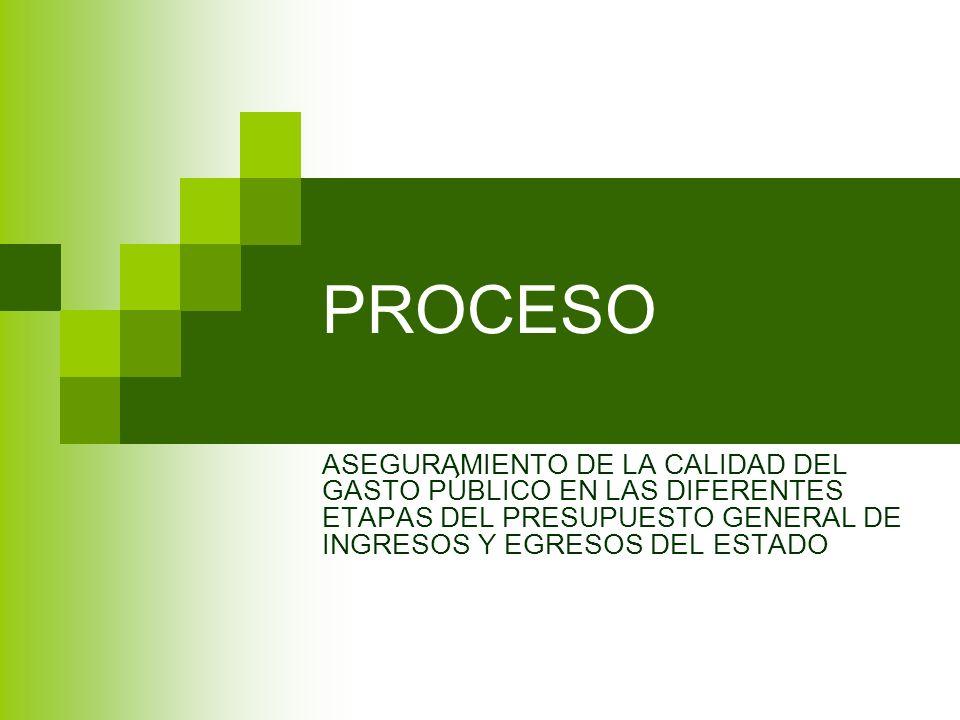 PROCESO ASEGURAMIENTO DE LA CALIDAD DEL GASTO PÚBLICO EN LAS DIFERENTES ETAPAS DEL PRESUPUESTO GENERAL DE INGRESOS Y EGRESOS DEL ESTADO.