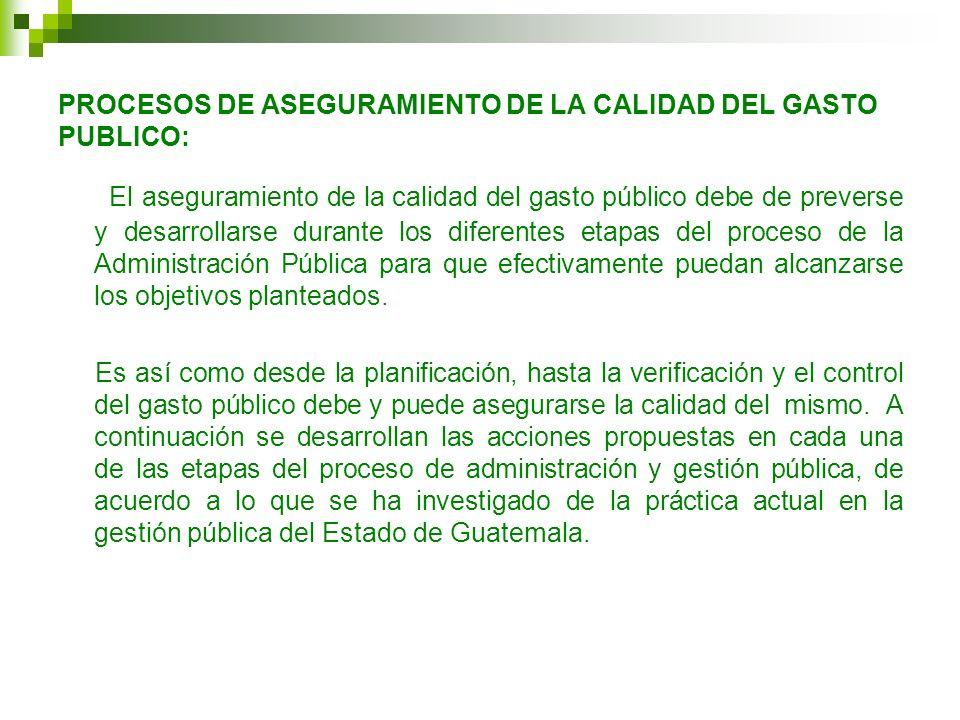 PROCESOS DE ASEGURAMIENTO DE LA CALIDAD DEL GASTO PUBLICO: