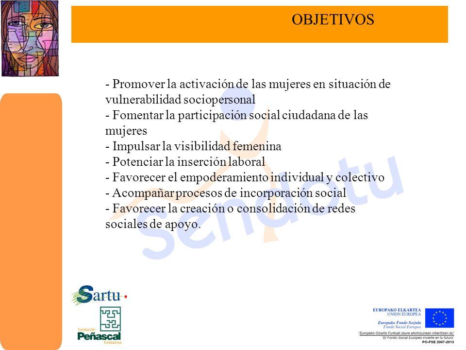 OBJETIVOS - Promover la activación de las mujeres en situación de vulnerabilidad sociopersonal.