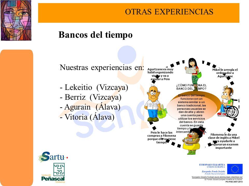 Bancos del tiempo OTRAS EXPERIENCIAS Nuestras experiencias en: