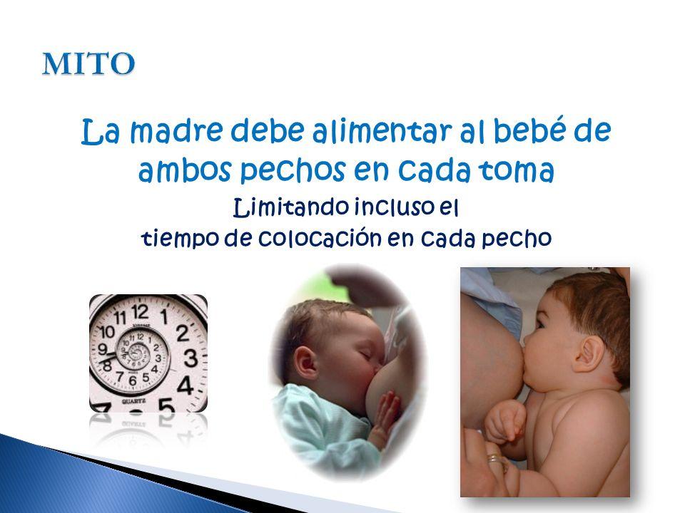 La madre debe alimentar al bebé de tiempo de colocación en cada pecho