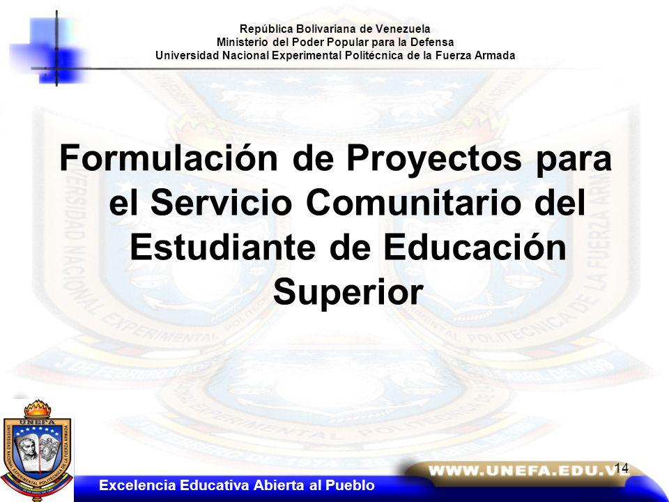 República Bolivariana de Venezuela Ministerio del Poder Popular para la Defensa Universidad Nacional Experimental Politécnica de la Fuerza Armada
