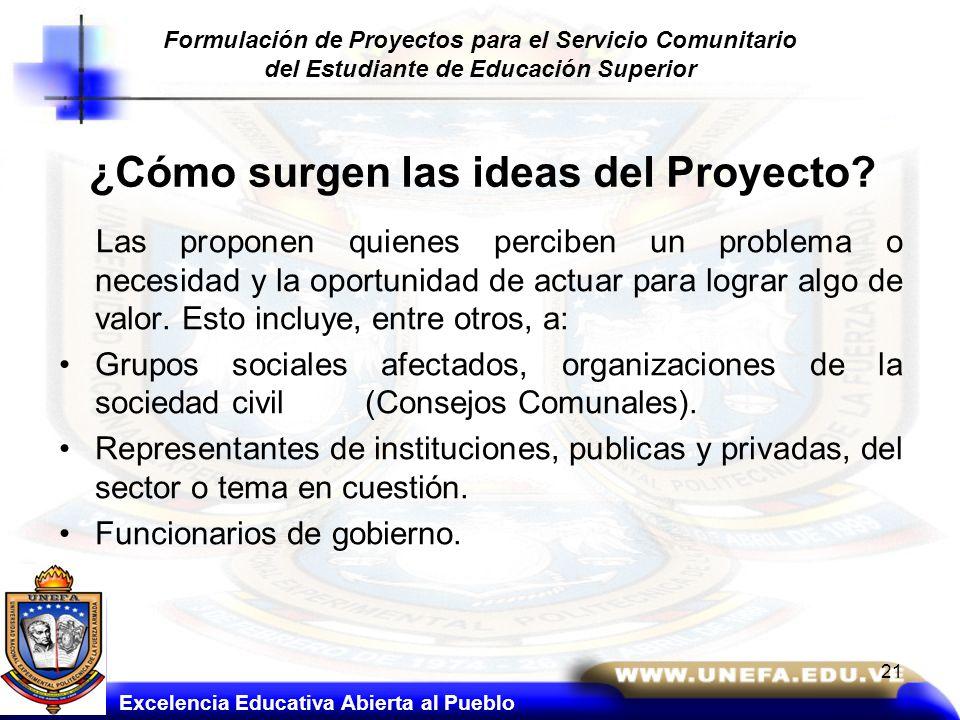 ¿Cómo surgen las ideas del Proyecto