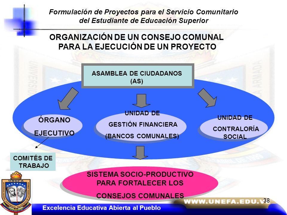 ORGANIZACIÓN DE UN CONSEJO COMUNAL PARA LA EJECUCIÓN DE UN PROYECTO