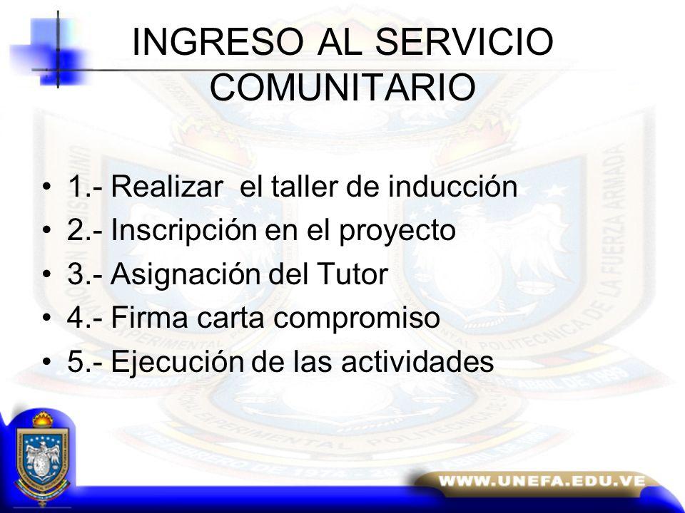 INGRESO AL SERVICIO COMUNITARIO
