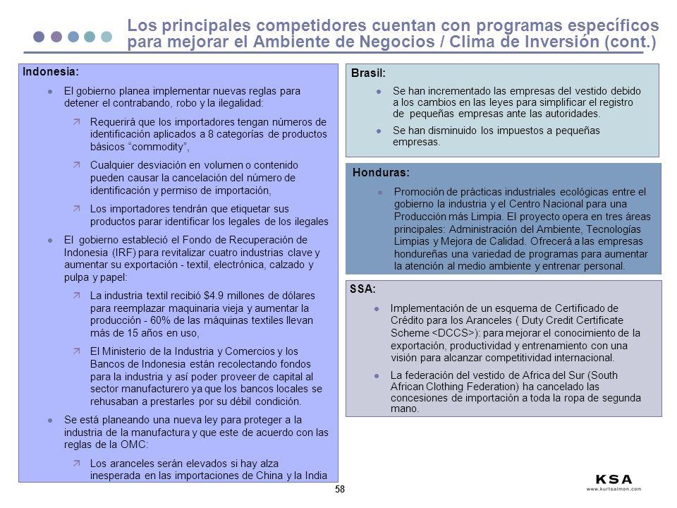 Los principales competidores cuentan con programas específicos para mejorar el Ambiente de Negocios / Clima de Inversión (cont.)