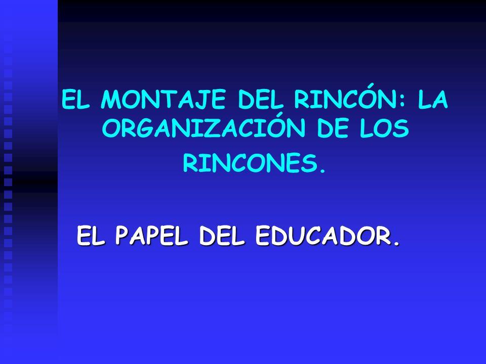 EL MONTAJE DEL RINCÓN: LA ORGANIZACIÓN DE LOS RINCONES.
