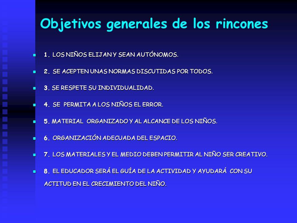 Objetivos generales de los rincones