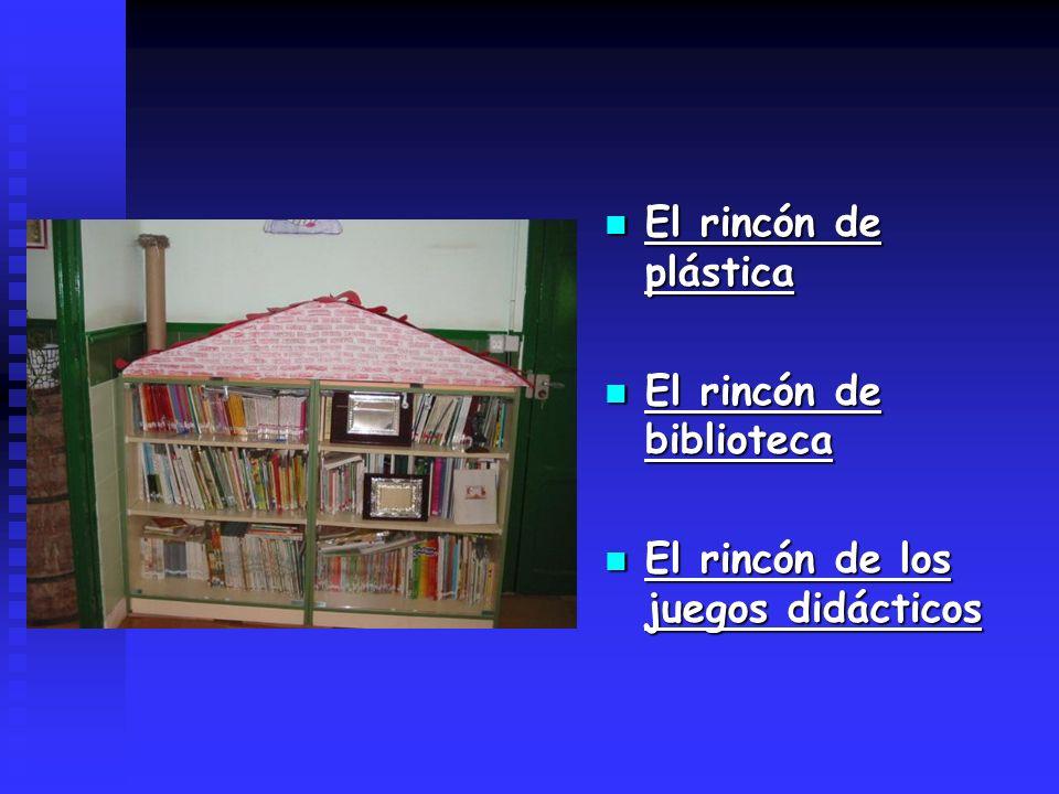 El rincón de plástica El rincón de biblioteca El rincón de los juegos didácticos