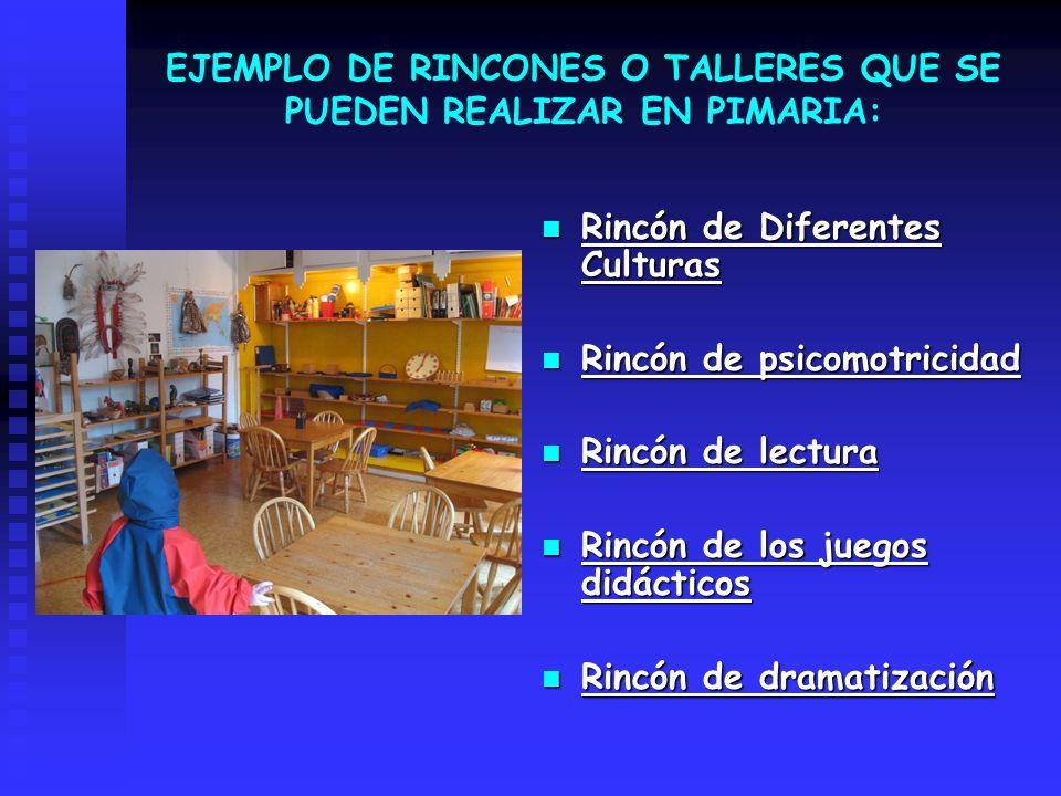 EJEMPLO DE RINCONES O TALLERES QUE SE PUEDEN REALIZAR EN PIMARIA: