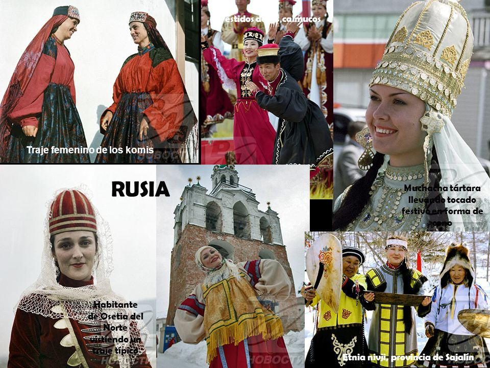 Muchacha tártara llevando tocado festivo en forma de cono