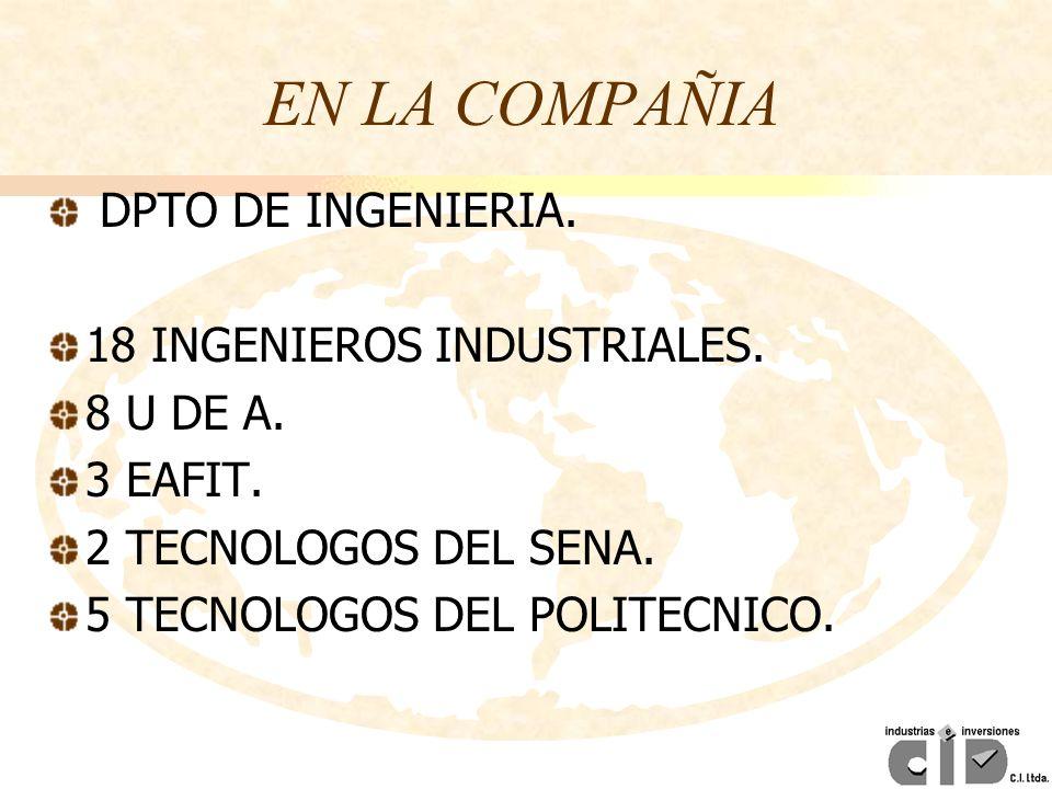 EN LA COMPAÑIA DPTO DE INGENIERIA. 18 INGENIEROS INDUSTRIALES.