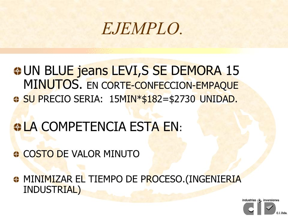 EJEMPLO. UN BLUE jeans LEVI,S SE DEMORA 15 MINUTOS. EN CORTE-CONFECCION-EMPAQUE. SU PRECIO SERIA: 15MIN*$182=$2730 UNIDAD.