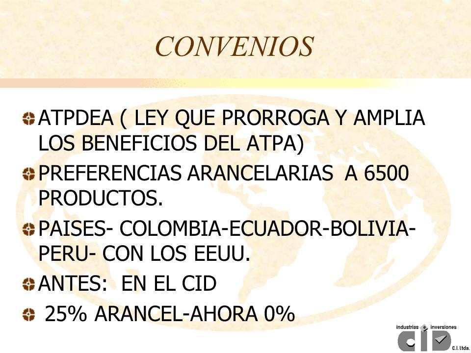 CONVENIOS ATPDEA ( LEY QUE PRORROGA Y AMPLIA LOS BENEFICIOS DEL ATPA)