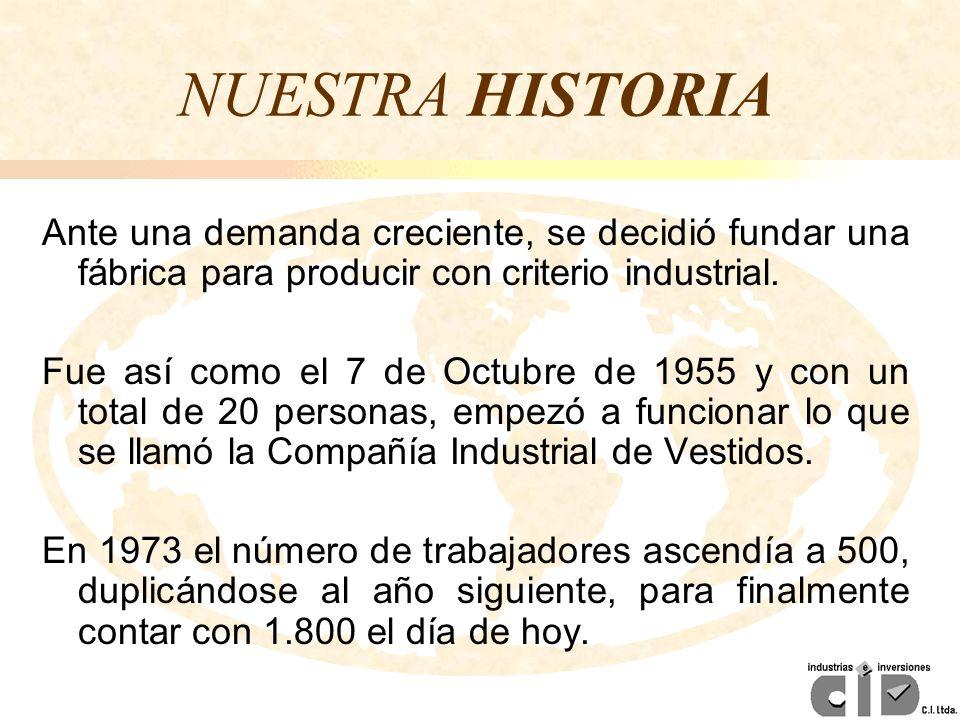 NUESTRA HISTORIA Ante una demanda creciente, se decidió fundar una fábrica para producir con criterio industrial.