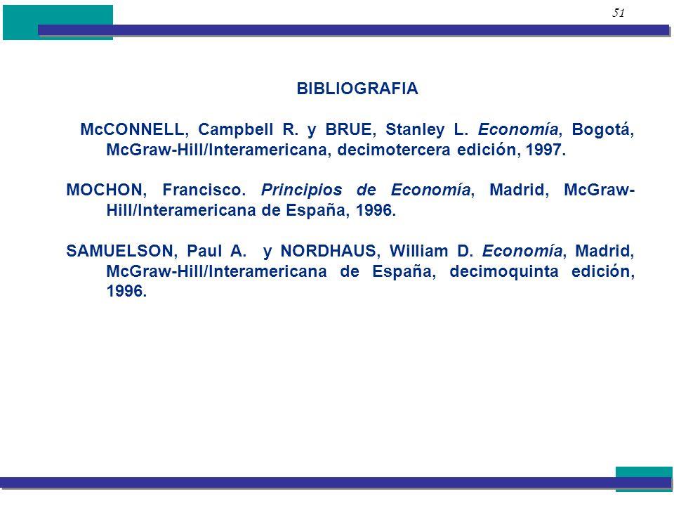51 BIBLIOGRAFIA. McCONNELL, Campbell R. y BRUE, Stanley L. Economía, Bogotá, McGraw-Hill/Interamericana, decimotercera edición, 1997.