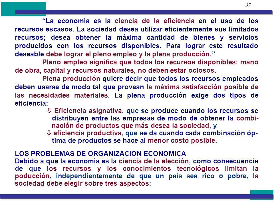 LOS PROBLEMAS DE ORGANIZACION ECONOMICA
