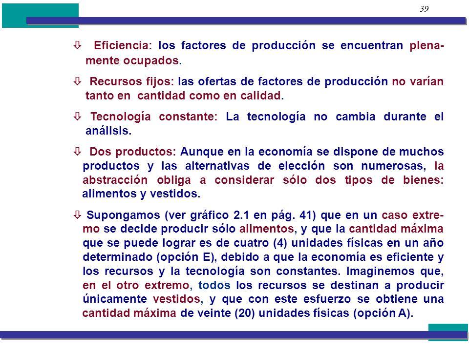 39  Eficiencia: los factores de producción se encuentran plena- mente ocupados.