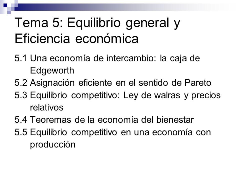 Tema 5: Equilibrio general y Eficiencia económica