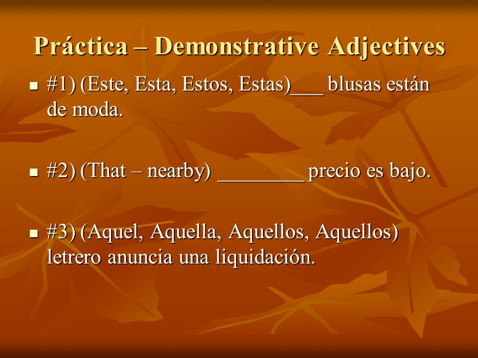 Práctica – Demonstrative Adjectives