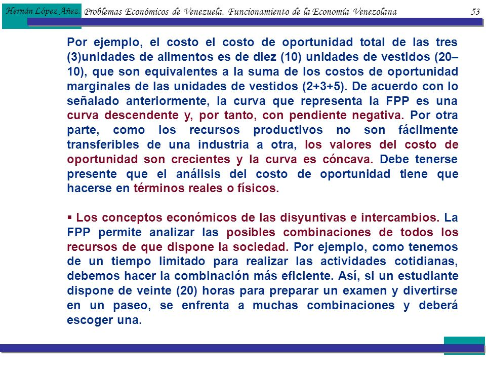 Hernán López Añez. Problemas Económicos de Venezuela. Funcionamiento de la Economía Venezolana 53.