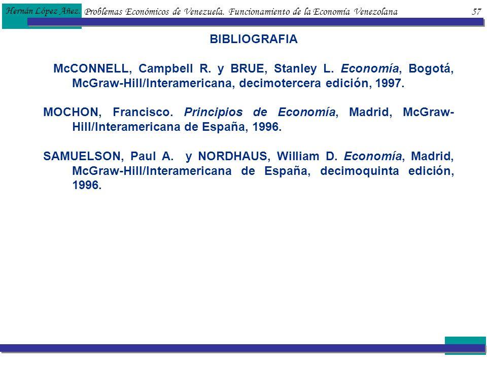 Hernán López Añez. Problemas Económicos de Venezuela. Funcionamiento de la Economía Venezolana 57.