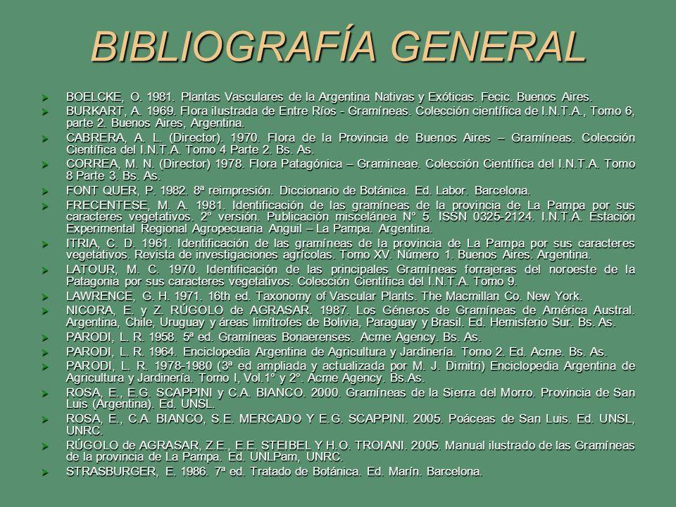 BIBLIOGRAFÍA GENERAL BOELCKE, O. 1981. Plantas Vasculares de la Argentina Nativas y Exóticas. Fecic. Buenos Aires.