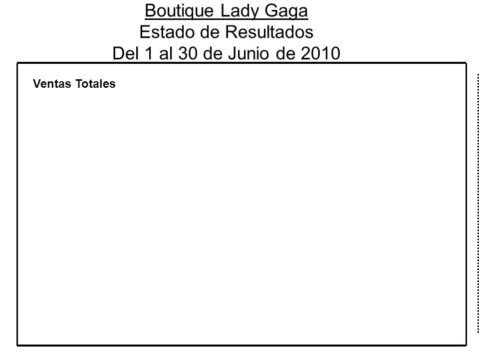 Boutique Lady Gaga Estado de Resultados Del 1 al 30 de Junio de 2010