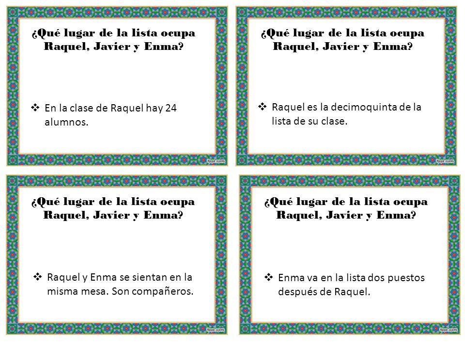 ¿Qué lugar de la lista ocupa Raquel, Javier y Enma
