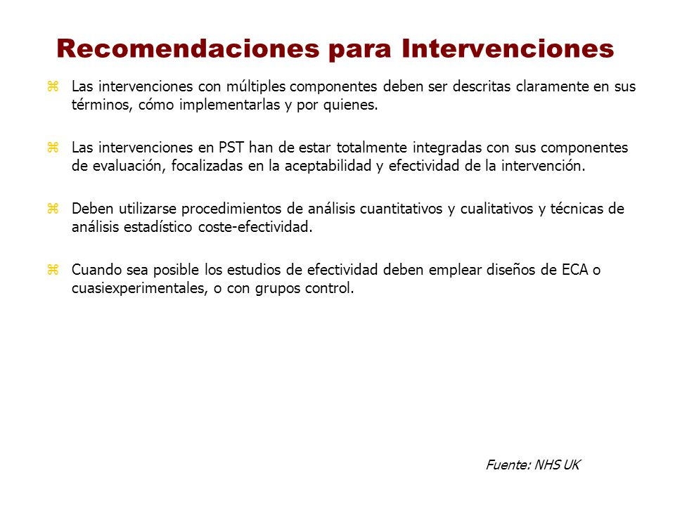 Recomendaciones para Intervenciones