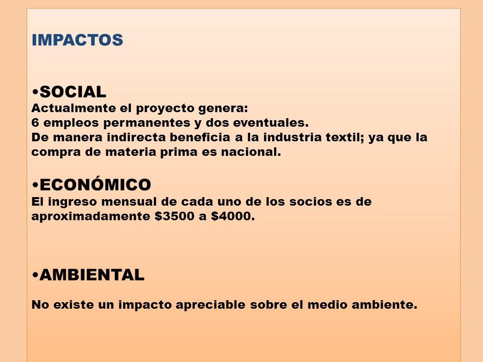 IMPACTOS SOCIAL ECONÓMICO AMBIENTAL Actualmente el proyecto genera: