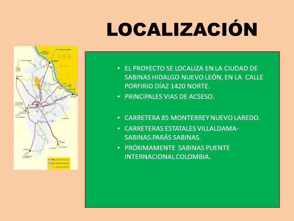 LOCALIZACIÓN EL PROYECTO SE LOCALIZA EN LA CIUDAD DE SABINAS HIDALGO NUEVO LEÓN, EN LA CALLE PORFIRIO DÍAZ 1420 NORTE.